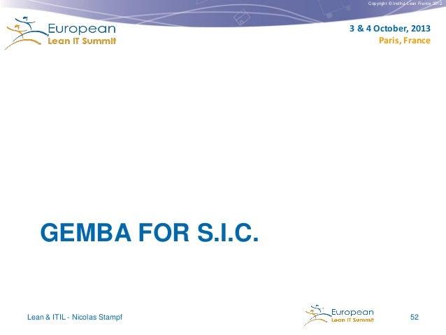 Copyright © Institut Lean France 2012  3 & 4 October, 2013 Paris, France  GEMBA FOR S.I.C.  Lean & ITIL - Nicolas Stampf  ...