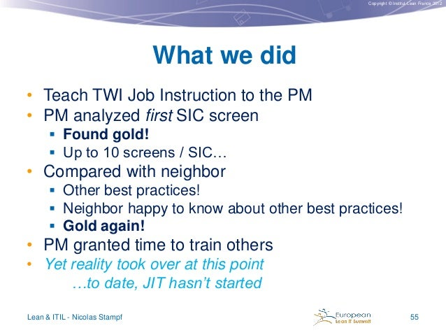Copyright © Institut Lean France 2012  What we did • Teach TWI Job Instruction to the PM • PM analyzed first SIC screen  ...