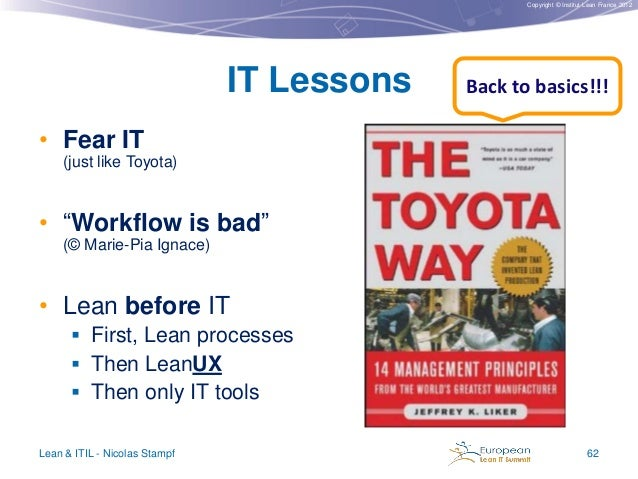 """Copyright © Institut Lean France 2012  IT Lessons  Back to basics!!!  • Fear IT (just like Toyota)  • """"Workflow is bad"""" (©..."""