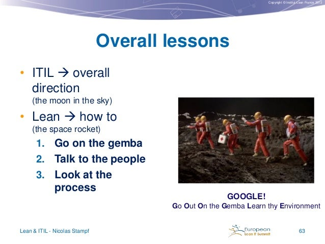 Copyright © Institut Lean France 2012  Overall lessons • ITIL  overall direction (the moon in the sky)  • Lean  how to (...