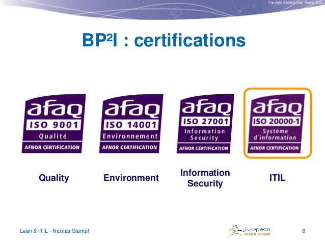 Copyright © Institut Lean France 2012  BP²I : certifications  Quality  Lean & ITIL - Nicolas Stampf  Environment  Informat...
