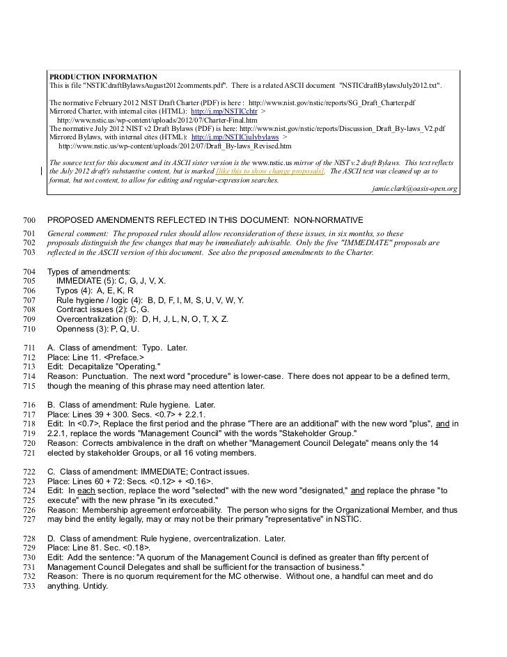 """PRODUCTION INFORMATION      This is file """"NSTICdraftBylawsAugust2012comments.pdf"""". There is a related ASCII document """"NSTI..."""