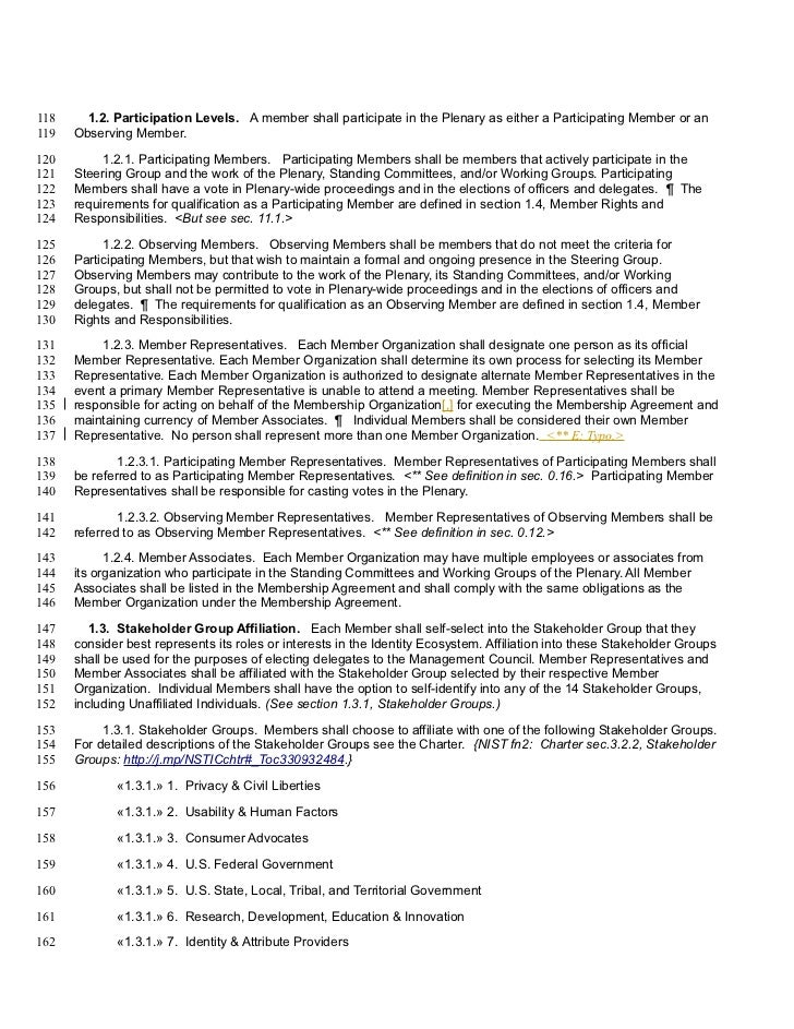 118     1.2. Participation Levels. A member shall participate in the Plenary as either a Participating Member or an119   O...