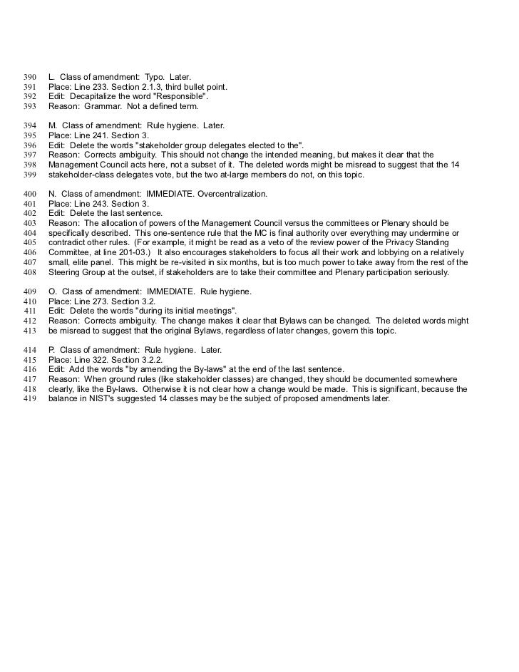 390   L. Class of amendment: Typo. Later.391   Place: Line 233. Section 2.1.3, third bullet point.392   Edit: Decapitalize...