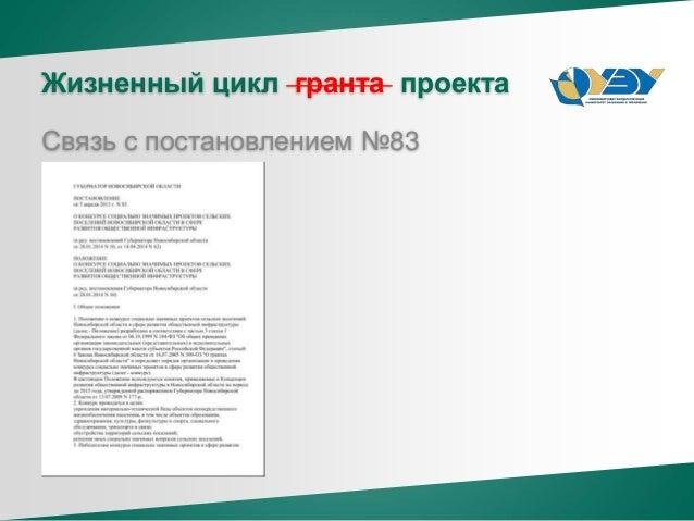 Жизненный цикл гранта проекта Связь с постановлением №83