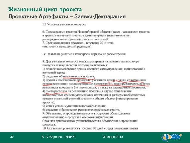 32 30 июня 2015В. А. Боронин – НИНХ Жизненный цикл проекта Проектные Артефакты – Заявка-Декларация