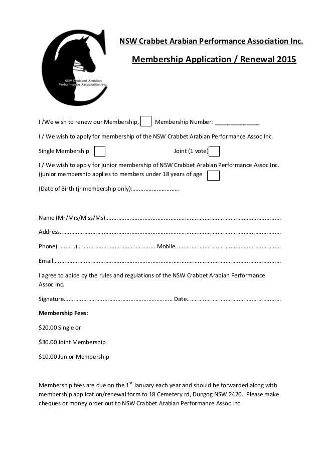 Nsw crabbet membership renewal form 2015