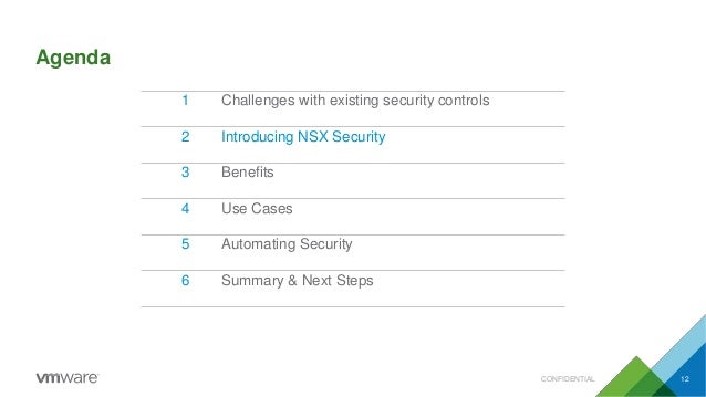 Agenda CONFIDENTIAL 12 1 Challenges with existing security controls 2 Introducing NSX Security 3 Benefits 4 Use Cases 5 Au...