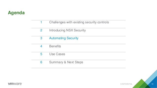 Agenda CONFIDENTIAL 19 1 Challenges with existing security controls 2 Introducing NSX Security 3 Automating Security 4 Ben...