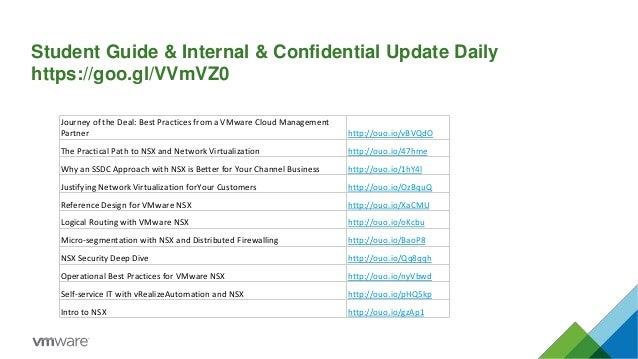 Student Guide & Internal & Confidential Update Daily https://goo.gl/VVmVZ0 Journey of the Deal: Best Practices from a VMwa...