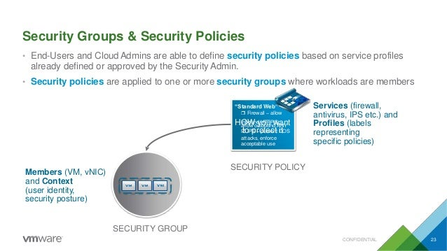 Security Groups & Security Policies • End-Users and CloudAdmins are able to define security policies based on service prof...