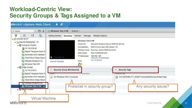 Workload-Centric View: Security Groups & Tags Assigned to a VM Any security issues?Protected in security group? Virtual Ma...