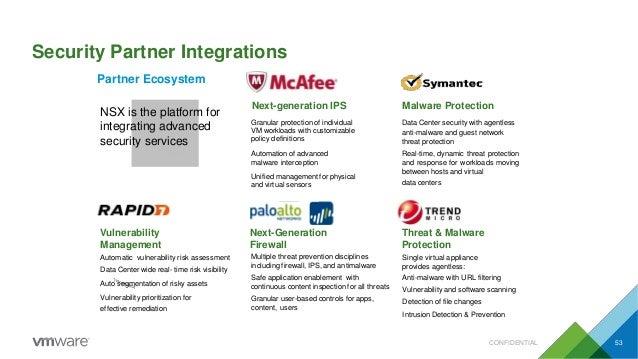 Security Partner Integrations Partner Ecosystem NSX is the platform for integrating advanced security services Next-genera...