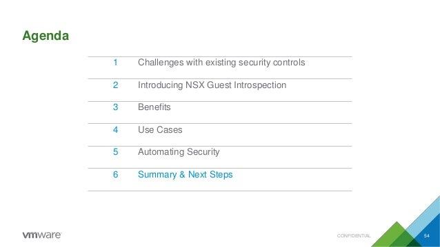 Agenda CONFIDENTIAL 54 1 Challenges with existing security controls 2 Introducing NSX Guest Introspection 3 Benefits 4 Use...