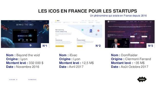 LES ICOS EN FRANCE POUR LES STARTUPS 13.09.2018 TECHNOPOLICE13 Un phénomène qui existe en France depuis 2016 Nom : Beyond ...
