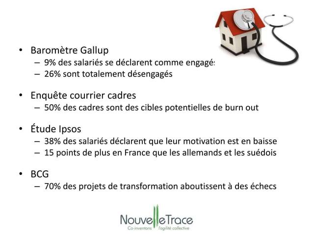 • Baromètre Gallup  – 9% des salariés se déclarent comme engagés  – 26% sont totalement désengagés  • Enquête courrier cad...