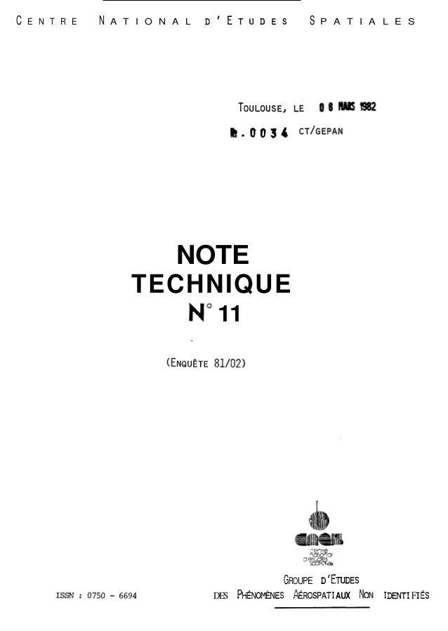 --  C E N T R E N A T I O N A L DIETUDES S P A T I A L E S  NOTE  TECHNIQUE  No 11  GROUPE D 'ENDES  DES ~ÉNOMÈNES~ ROSPAT...