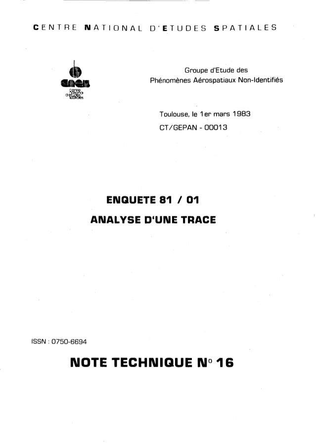 C E N T R E N A T I O N A L O'ETUDES S P A T I A L E S  Groupe d'Etude des  Phénomènes Aérospatiaux Non-Identifiés  Toulou...