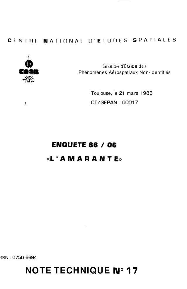 """b Groiipe d'E tilde des  e!I);awI Phénomenes Aérospatiaux Non-Identifiés ,""""i  Toulouse, le 2 1 mars 1 983  NOTE TECHNIQUE ..."""