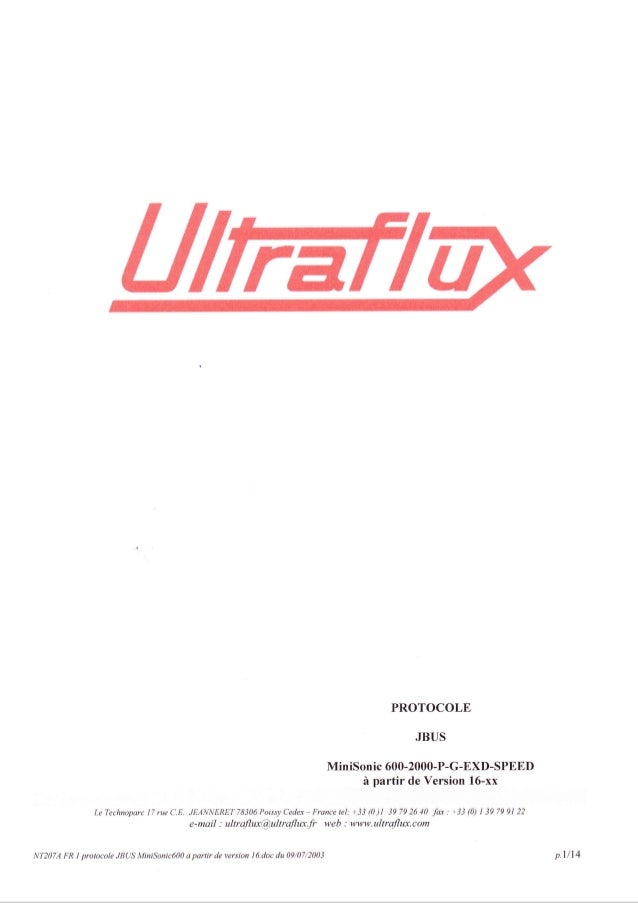 PROTOCOLE JBUS MiniSonic 600-2000-P-G-EXD-SPBED ir partir de Version 16-xx LeTechnoparclTrueC.E. JEANNERETTS306PoissyCedex...