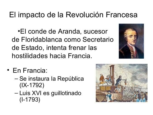El impacto de la Revolución Francesa • En Francia: – Se instaura la República (IX-1792) – Luis XVI es guillotinado (I-1793...