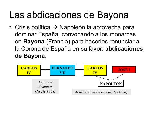 Las abdicaciones de Bayona • Crisis política  Napoleón la aprovecha para dominar España, convocando a los monarcas en Bay...