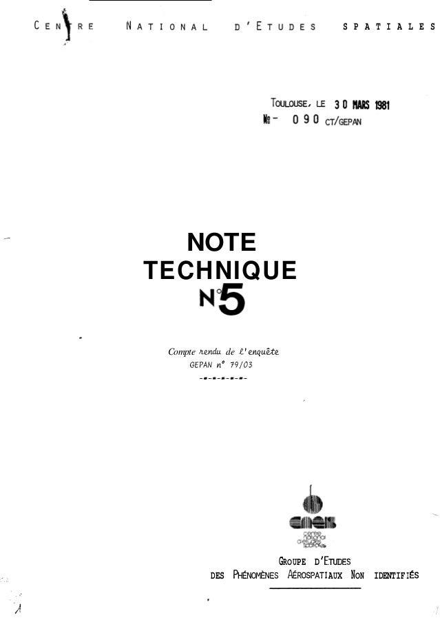 S P A T I A L E S  NOTE  TECHNIQUE  Compte nevldu de 1' enyuae  GEPAN no 79/03  -I-E-C---l-  GROUPE D ' ETUDES  DES PHENOM...