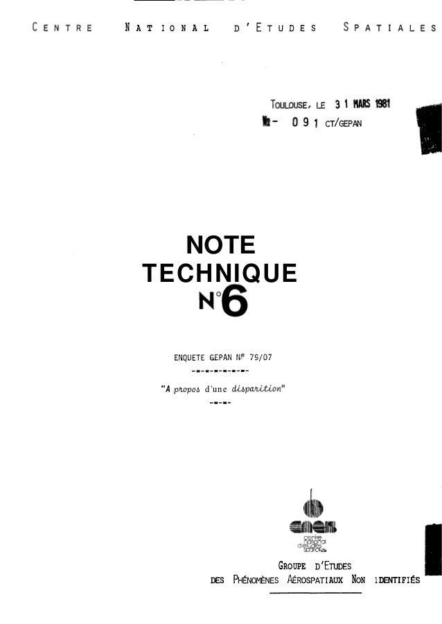 "- - - -  N A T I O N A L DIETUDES  NOTE  TECHNIQUE  ENQUETE GEPAN rJp 79/07  -a-=---=-=-=-  ""A pmpaa d'une dhpahLiian""  -=..."