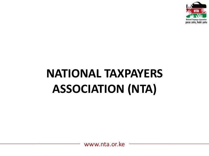 NATIONAL TAXPAYERS ASSOCIATION (NTA)     www.nta.or.ke