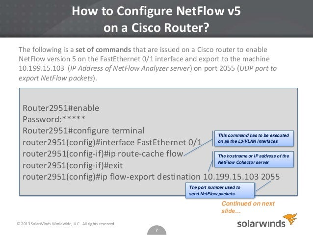 how to configure netflow on cisco