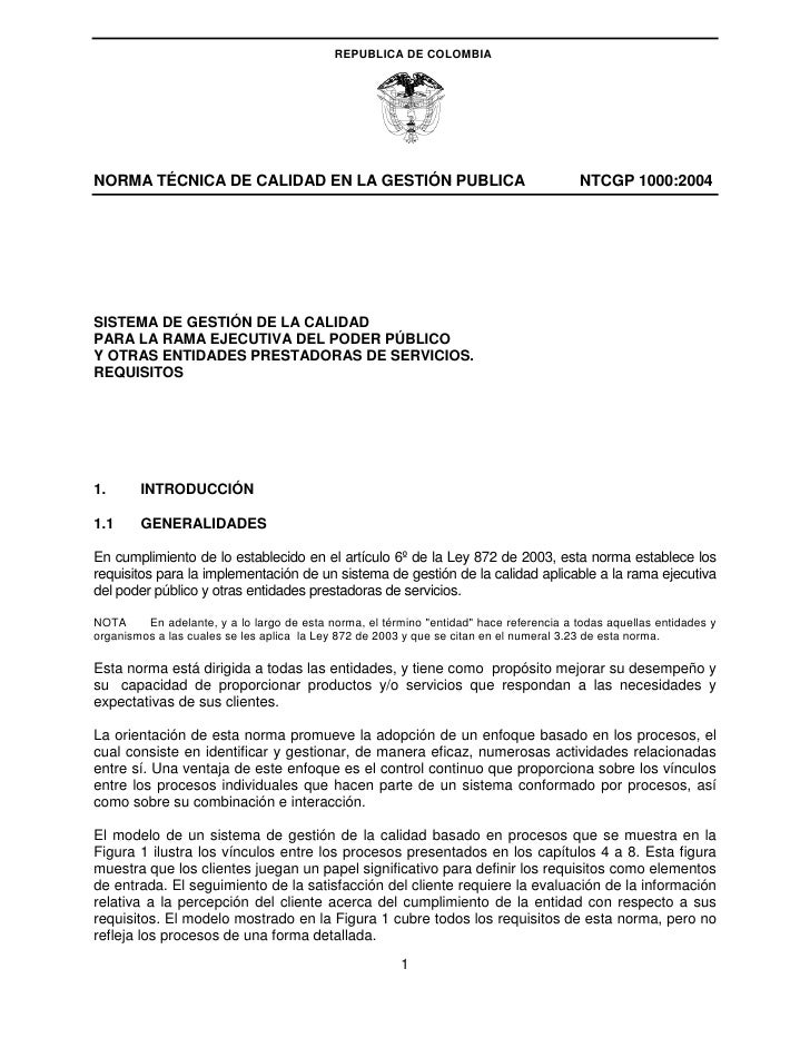 REPUBLICA DE COLOMBIA     NORMA TÉCNICA DE CALIDAD EN LA GESTIÓN PUBLICA                                           NTCGP 1...