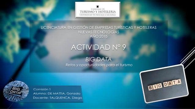 LICENCIATURA EN GESTIÓN DE EMPRESAS TURÍSTICAS Y HOTELERAS NUEVAS TECNOLOGÍAS AÑO 2015 ACTIVIDAD Nº 9 BIG DATA Retos y opo...