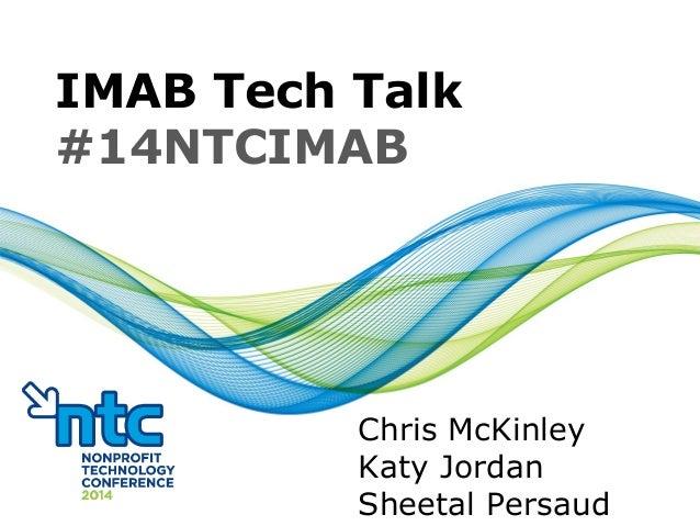 IMAB Tech Talk #14NTCIMAB Chris McKinley Katy Jordan Sheetal Persaud