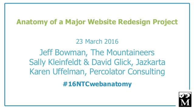 23 March 2016 Jeff Bowman, The Mountaineers Sally Kleinfeldt & David Glick, Jazkarta Karen Uffelman, Percolator Consulting...
