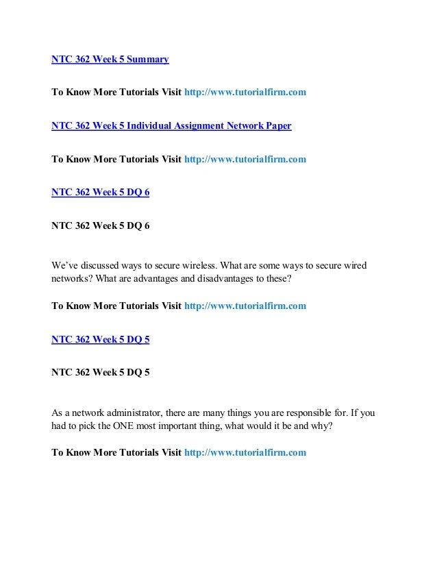 ntc 362 week 5 individual assignment Ntc 362 all assignments  ntc 362 week 1 individual cable replacement  recommendation  ntc 362 week 5 team additional satellite presentation.