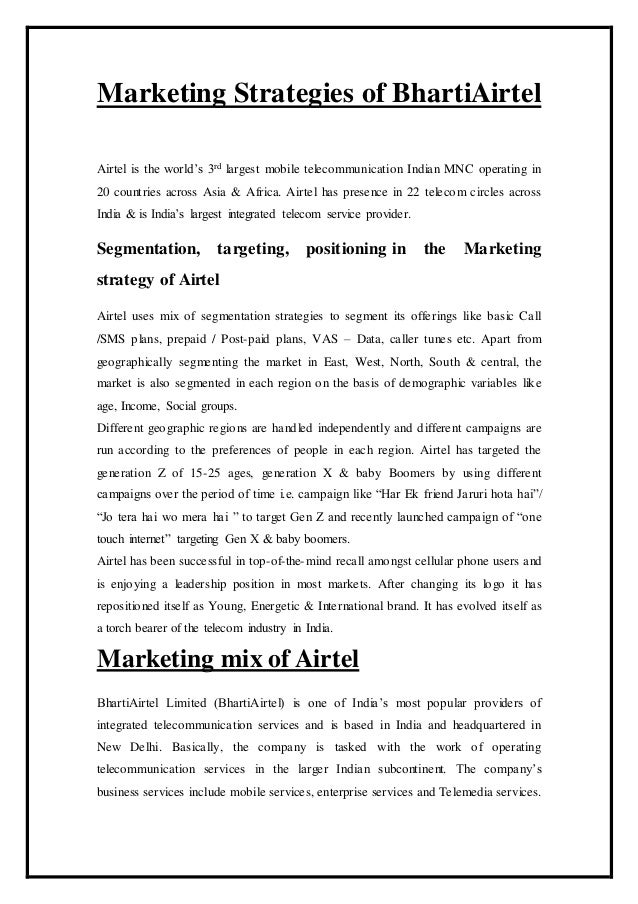 Company Report on Airtel