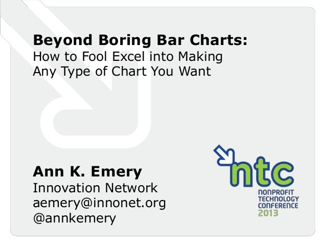 Beyond Boring Bar Charts:How to Fool Excel into MakingAny Type of Chart You WantAnn K. EmeryInnovation Networkaemery@innon...