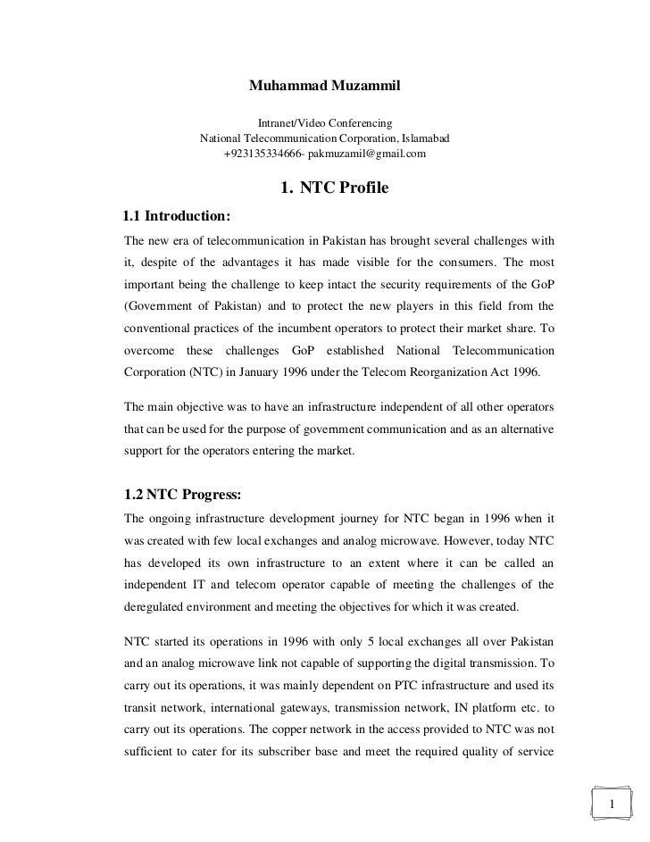 Ntc Internship Report. Muhammad Muzammil Intranet/Video Conferencing ...