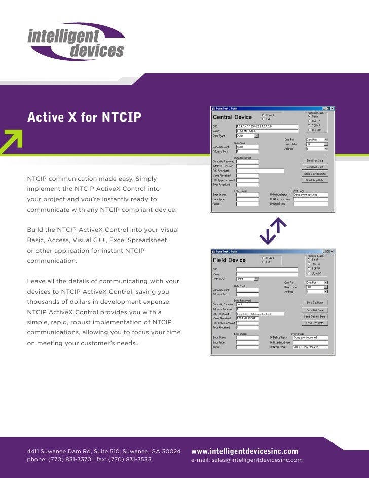 Active X for NTCIP    NTCIP communication made easy. Simply implement the NTCIP ActiveX Control into your project and you'...