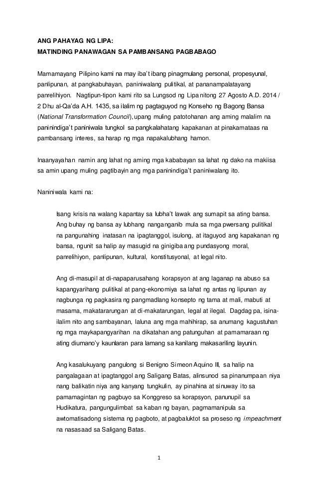 ANG PAHAYAG NG LIPA:  MATINDING PANAWAGAN SA PAMBANSANG PAGBABAGO  Mamamayang Pilipino kami na may iba't ibang pinagmulang...