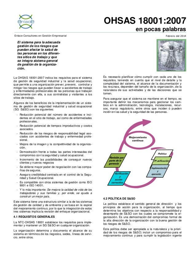 OHSAS 18001:2007 en pocas palabras Febrero del 2014  Enlace Consultores en Gestión Empresarial  El sistema para la adecuad...