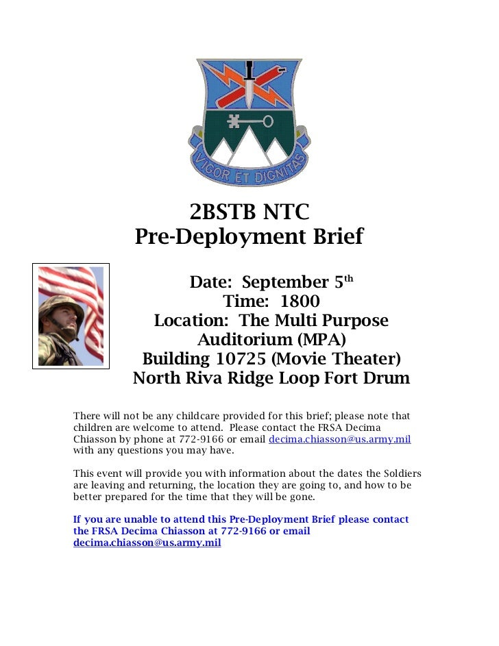 2BSTB NTC             Pre-Deployment Brief                   Date: September 5th                       Time: 1800         ...