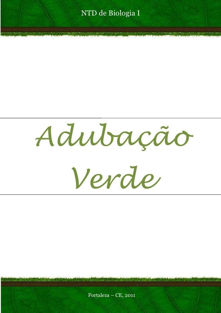 NTD de Biologia IAdubação Verde   Fortaleza – CE, 2011