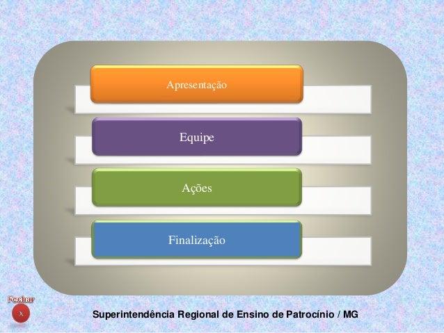 Superintendência Regional de Ensino de Patrocínio / MG Apresentação Equipe Ações Finalização