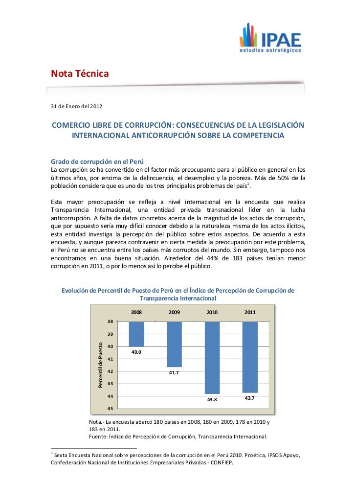 Nota Técnica31 de Enero del 2012COMERCIO LIBRE DE CORRUPCIÓN: CONSECUENCIAS DE LA LEGISLACIÓN    INTERNACIONAL ANTICORRUPC...