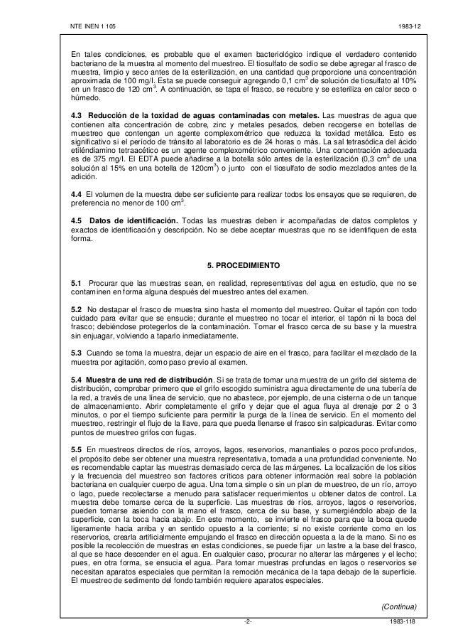 NTE INEN 1 105 1983-12 1983-118-2- En tales condiciones, es probable que el examen bacteriológico indique el verdadero con...