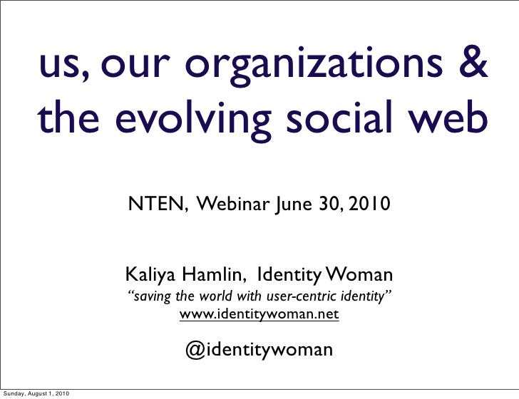 Us our Organizations and the Evolving Web  v2