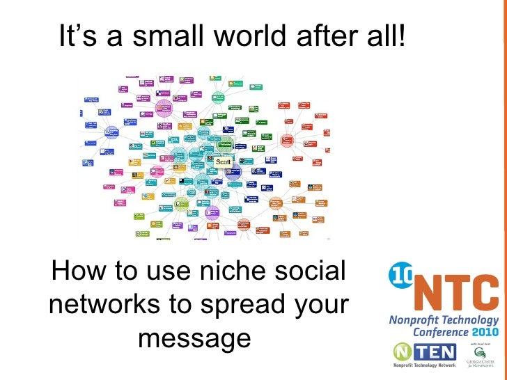 ' It's a small world after all!'  How to use niche social networks to spread your message Twitter:  #10NTC ,  #nichenetworks