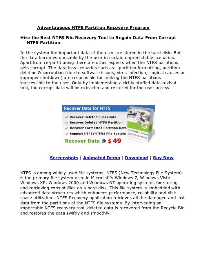 Advantageous NTFS Partition Recovery ProgramHire the Best NTFS File Recovery Tool to Regain Data From Corrupt   NTFS Parti...