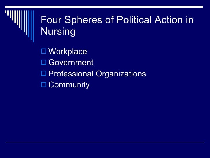 four spheres in political action in nursing Nti2010 policy politics and you act with  identify four spheres of political action in nursing along with identifying aacn's public.